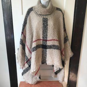 Sweaters - Soft Turtleneck Poncho Shawl